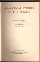 Analytical Studies in the Psalms